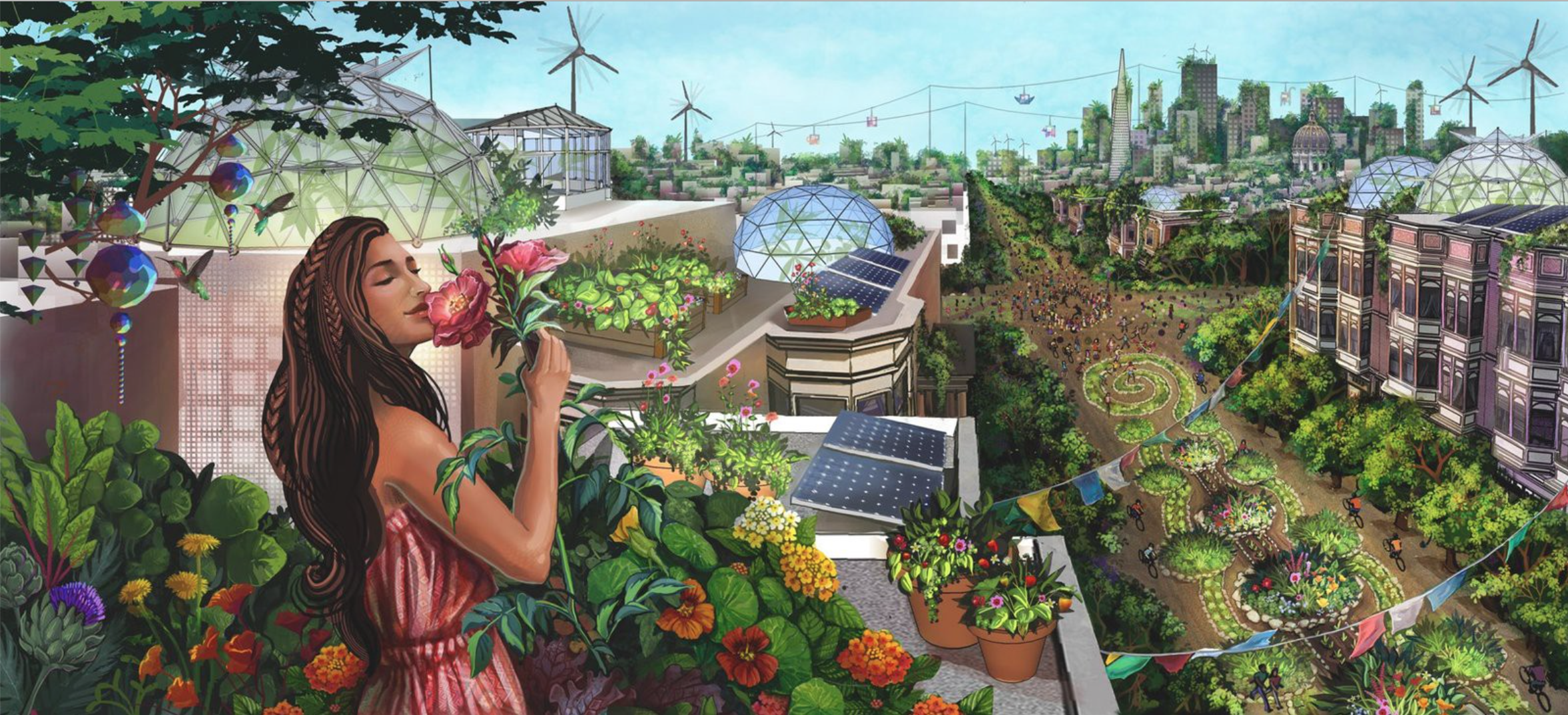 Woman smelling flowers against a vibrant community backdrop of gardens, greenhouses, wind turbines and solar panels